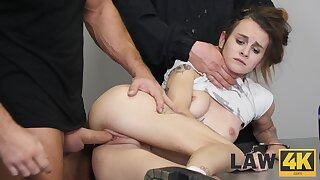 Two wanton prison guards fuck put emphasize shit out of guilty girl Adelle Unicorn