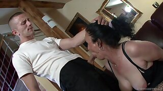 Horny granny Marianna is having dirty sex with young student