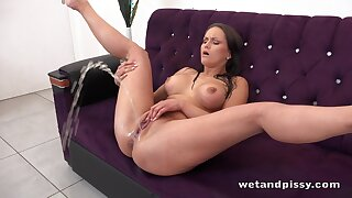Randy alone brunette Barbara Bieber flashes will not hear of Czech pussy during pissing unaccompanied