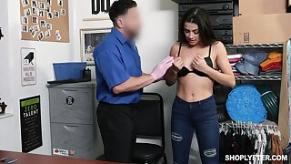 Slender girl Kylie Rocket is fucked steadfast by one kinky security guy