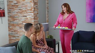 Filthy stepmother Maggie Green seduces daughter's steady old-fashioned