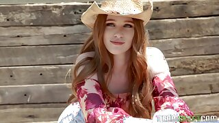 Sexy cowgirl Scarlett Snow takes a pompously dick in her wet pussy