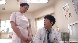 Amazing shagging almost POV take a natural boobs Japanese nurse