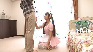 A handful of guys with stiff dicks fuck attractive Japanese maid Ai Nikaido