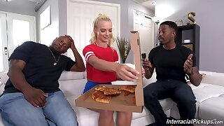 young blonde knows the right solution to please these jet hunks