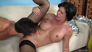 Hot of age keeps it deep in her cunt after a long time moaning coupled with rubbing her jugs