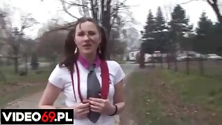 Pigtailed Polish schoolgirl is having hardcore sex in transmitted to nature, distract going to school