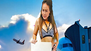 Princess Hola in Sizzling Hot Brunette Gets Naked in Front be worthwhile for a Plane - VRpussyVision