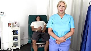 Sensuous, blondie nurse is using every chance to get screwed, even even if she is at one's disposal work