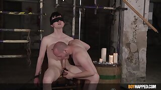 Blind folded twink plays submissive for this thirsty gay dominator