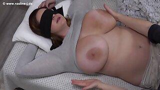 Fetish with blindfolded Nika - Feel the Nika - Mature mom has her big boobs massaged