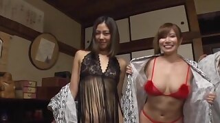 Lucky dude gets to bang four Japanese chicks at coequal time