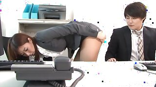 Nude office sexual intercourse with a sexy Japanese doll