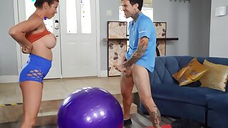 Excitement makes the busty MILF forget take fitness and have sex