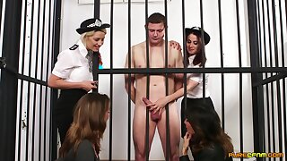 Videotape of a naked dude getting pleasured by Madlin Moon and cops