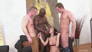 Swarthy hunk shares bitch with two more white dudes
