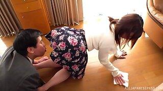 Needy Japanese fucked nearby their way skirt still on