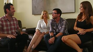 Passionate foursome involving horny girls Julia Ann and Allison Moore