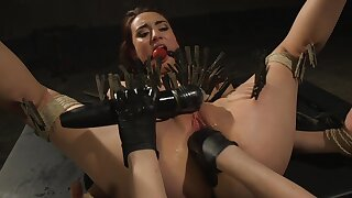 Clamped bitch ass fucked by her dominant mistress