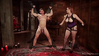 Mature slut Bella Rossi tortures her male slave and rides his cock