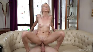 Petite blonde Zazie Skymm fucked in her tight ass by her partner