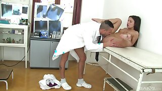 Petite angel gets laid with the doctor during a basic check