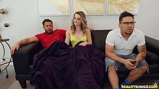 Kate gives a dude a handjob while her boyfriend isn't watching