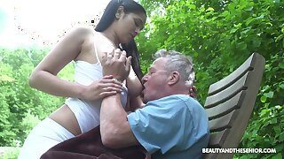 Busty sitter Ava Black bangs old man and takes cumshots more than her massive boobs